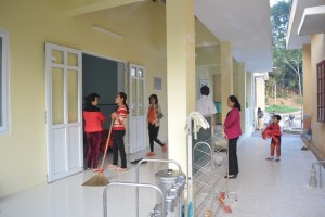 in front of two new classrooms